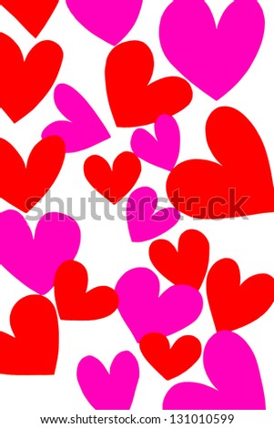 Pink and Red Hearts - stock photo