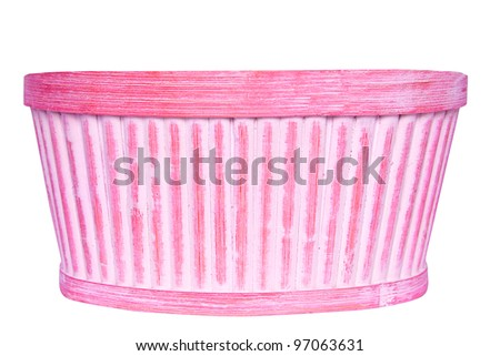 Pink and white basket for flowers isolated over white background - stock photo