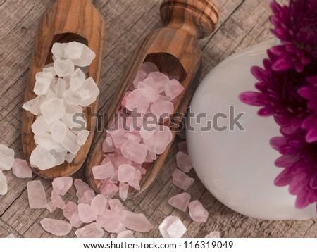 pink and white bathing salt - stock photo