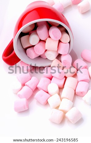 Pink and white mini marshmallows - stock photo