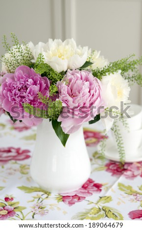Pink and white peonies  - stock photo