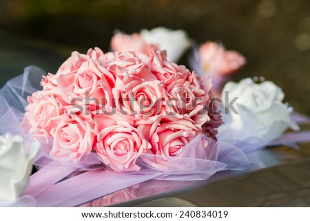 Pink and white wedding bouquet - stock photo