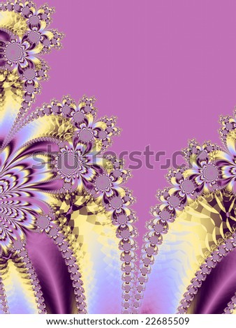 Pink and yellow floral fractal design suitable for weddings or Easter.