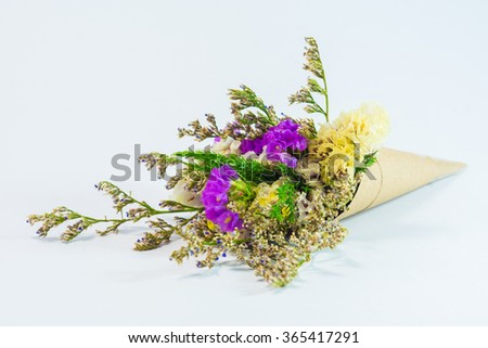Pink yellow statice flower bouquet on stock photo download now pink and yellow statice flower bouquet on white background mightylinksfo