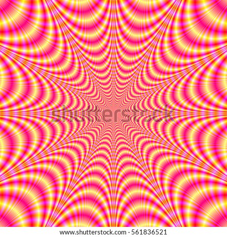 Pink and Yellow Web / A digital fractal image with a web design in pink and yellow.