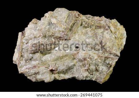 Pink andalusite crystal in quartz from Czech pegmatite - stock photo