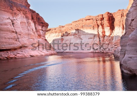 Pink Antelope Canyon Water Reflection Glen Canyon Recreation Area Lake Powell Arizona - stock photo