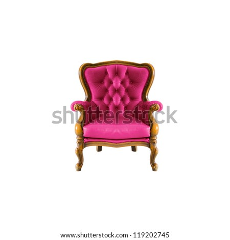 pink antique arm chair with clipping path on white background - stock photo