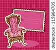 Pink Armchair and picture on checked background - card with empty space for your text. Raster version - stock photo