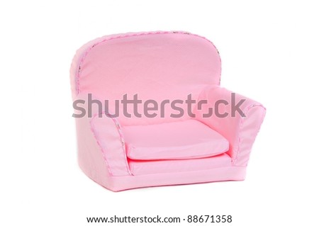 Pink armchair, isolated on white - stock photo