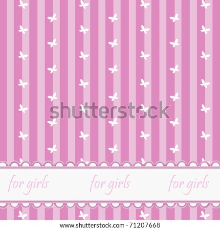 Pink babies background with butterflies - stock photo
