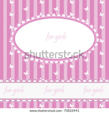 Pink babies background with frame - stock photo