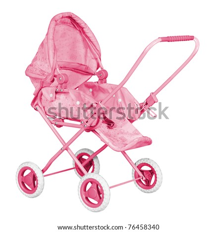 Pink Baby Carriage isolated on white background - stock photo