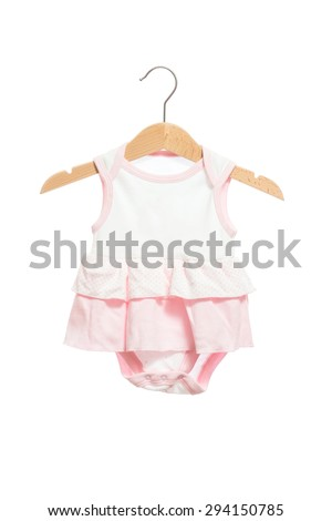 Pink baby clothes bodysuit dress front view in clothes hanger, isolated on white background. - stock photo