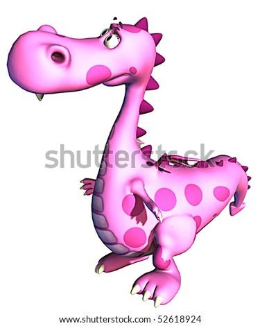 pink baby dragon thinking - stock photo