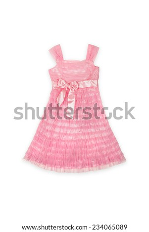 pink baby dress with a bow on a white background - stock photo