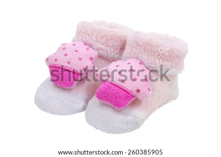 Pink baby socks, on white background - stock photo