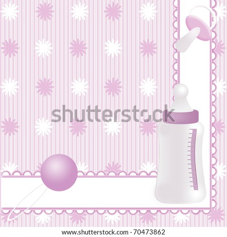 Pink background with babies icons - stock photo