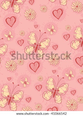 Pink background with butterfly and flowers
