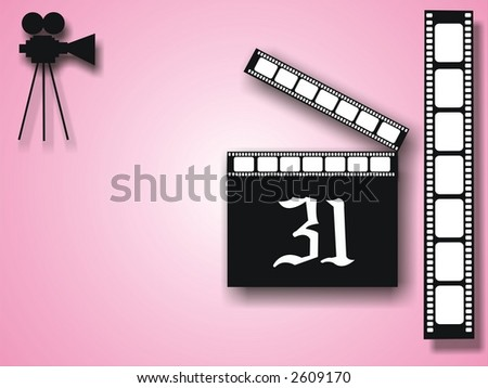 pink background with film stripe and cinecamera