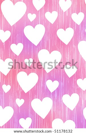 Pink background with white hearts - stock photo