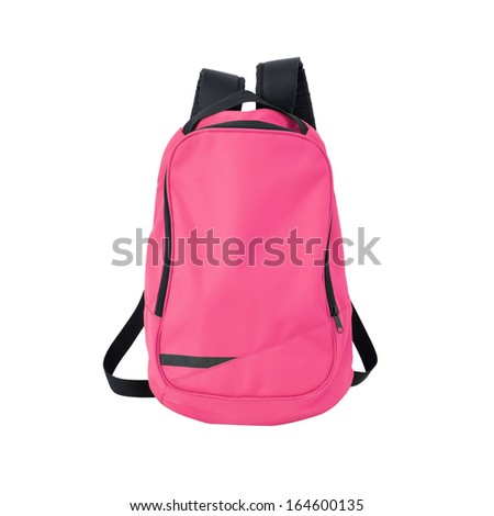 Pink backpack / back pack / school bag / rucksack isolated on white. Study concept