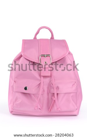 Pink backpack isolated on white background - stock photo