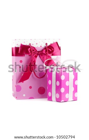 Pink bag and gift box. Isolated on white - stock photo