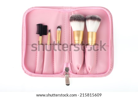 pink bag for make up brushes isolate on white background - stock photo