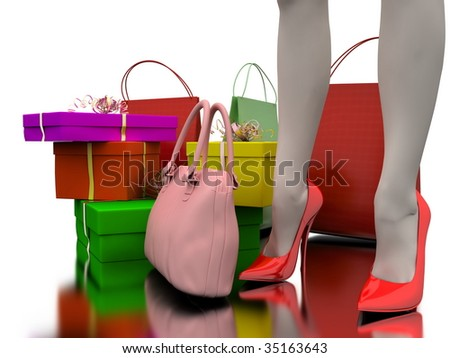 Pink bag, shopping and gifts on white background