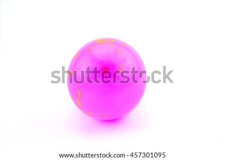 Pink ball on white background.