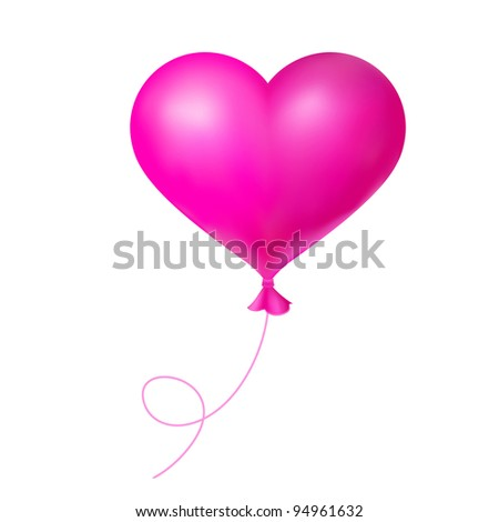 Pink balloon shape heart for Valentine Day design.