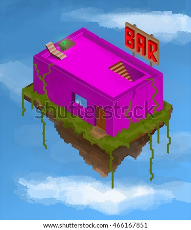 Pink bar building floating in the blue sky with clouds stylized illustration
