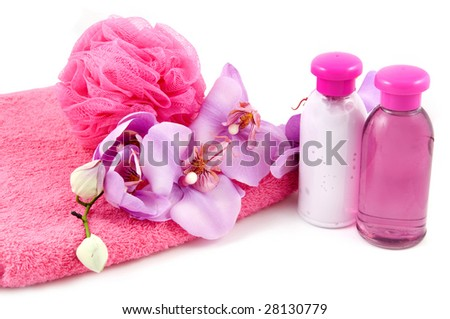 Pink bath accessory isolated on a white background