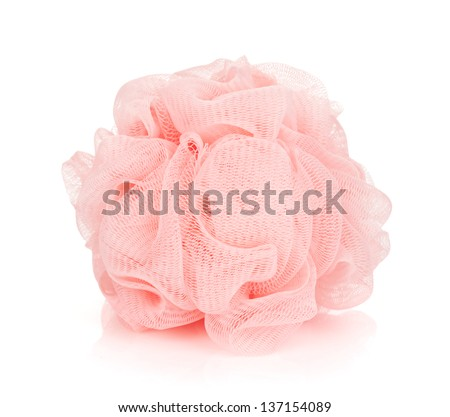 Pink bath puff. Isolated on white background - stock photo