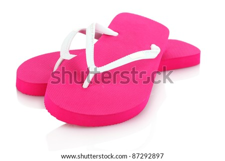 pink beach shoes isolated on white