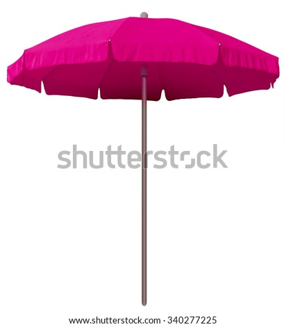 Pink beach umbrella isolated on white. Clipping path included. - stock photo
