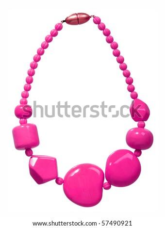 pink beads - stock photo