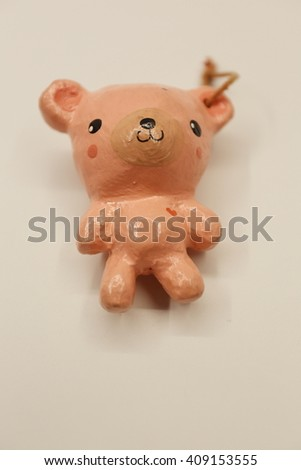 pink bear make from paper souvenir from Thailand - stock photo