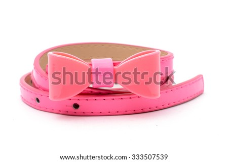 pink belt with a bow isolated on white - stock photo