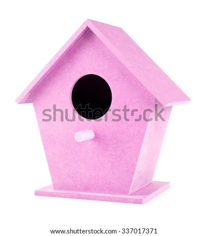 pink birdhouse on a white background - stock photo