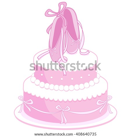 Pink birthday cake decorated with ballet shoes, pearls and ribbons
