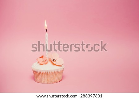 Pink birthday cupcake - stock photo