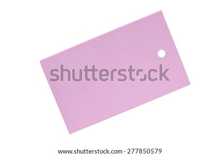 Pink blank label on white background