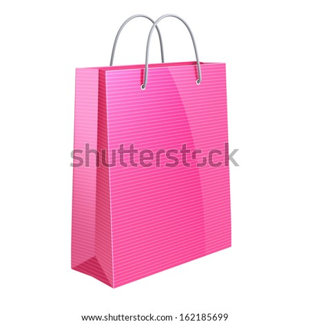 Pink blank shopping bag with copy space