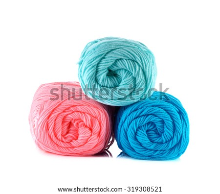 Pink,blue and light blue Yarn Ball on white background.