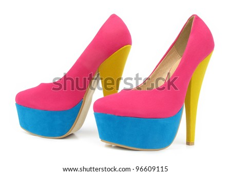 Pink, blue and yellow colorful high heels pump shoes - stock photo