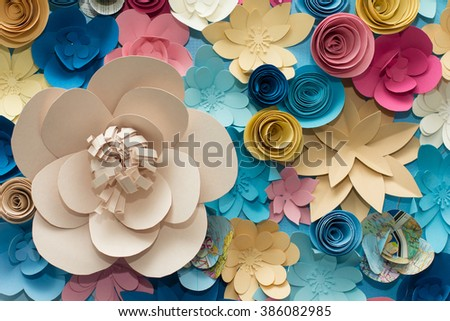 Pink, Blue, yellow and White flowers paper background pattern lovely style. Rose made from paper. - stock photo