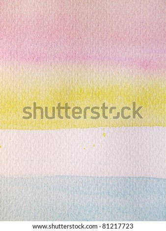 Pink Blue & Yellow Pastel Watercolor Background 3 - stock photo
