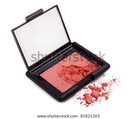 Pink blush with crushed particles isolated on white - stock photo